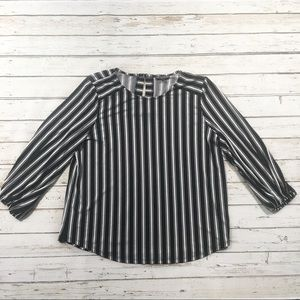 Adrianna Papell Blue and White Striped Blouse